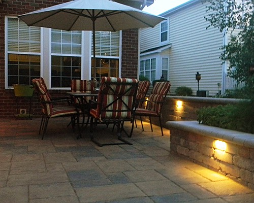 Paver Patio with LED Lighting