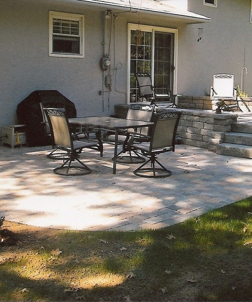 Multi-Level stone patio with retaining wall