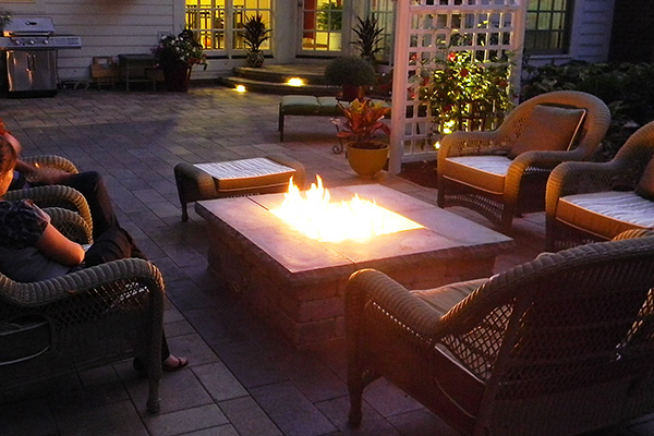Fire Table Is Focal Point Of Outdoor Living Landscaping