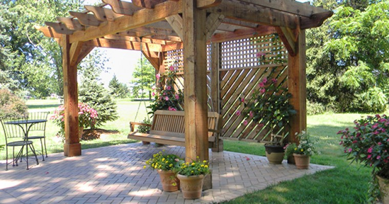 pergola with swing landscaping outdoor kitchens outdoor. Black Bedroom Furniture Sets. Home Design Ideas