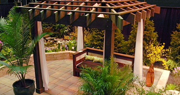 Asian Inspired Pergola with Fabric Drapings