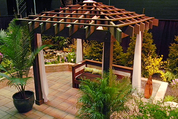 asian inspired pergola with fabric drapings landscaping outdoor kitchens outdoor living in. Black Bedroom Furniture Sets. Home Design Ideas