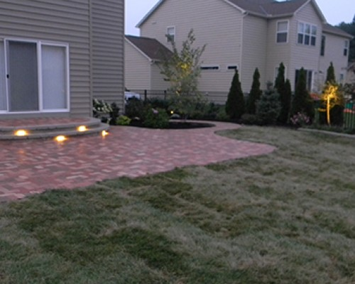 Paver Patio and Landscaping with LED Lighting