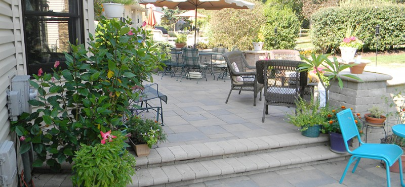 Multi-Level Paver Patio with LED Lights in Arlington, Ohio