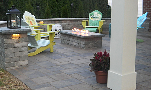 stone patio with fire table