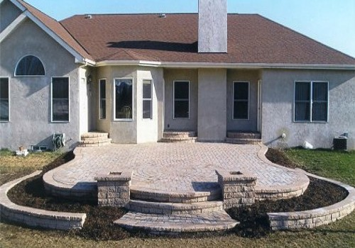 Stone Patio with Circle Medallion in Dublin, Ohio
