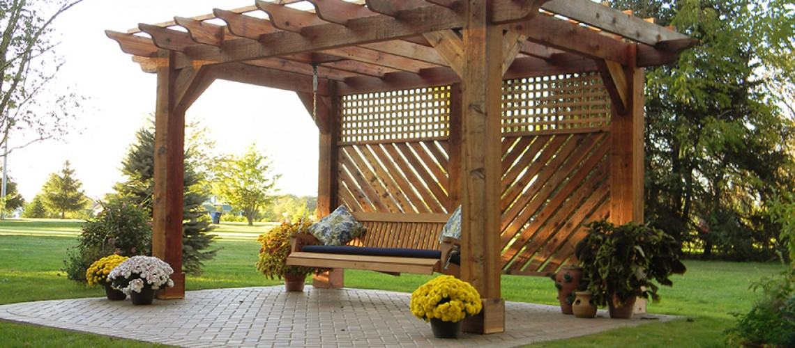 Pergola With Swing In Johnstown Ohio Landscaping