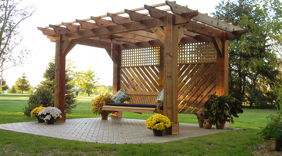 pergola with swing in johnstown ohio landscaping. Black Bedroom Furniture Sets. Home Design Ideas
