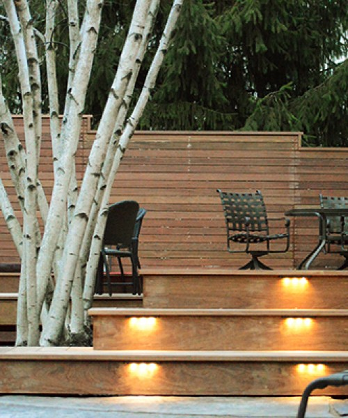 Multi-level Outdoor Deck with LED Lighting and Sunken Hot Tub