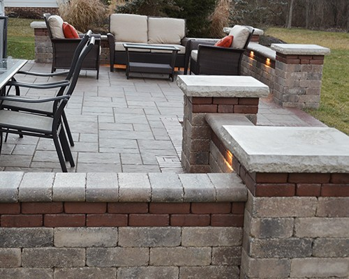 Stone Paver Patio with Copthorne Accent and LED lighting