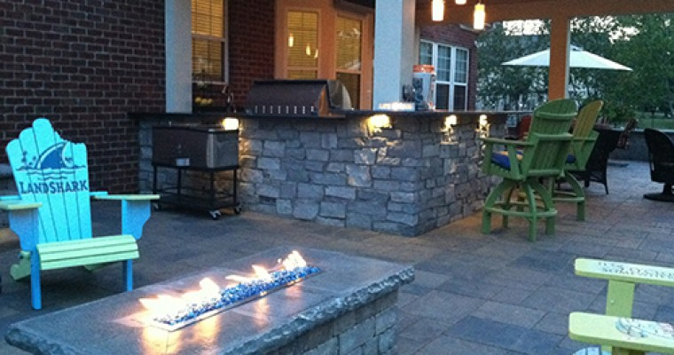 Stone Fire Table Part of Outdoor Kitchen