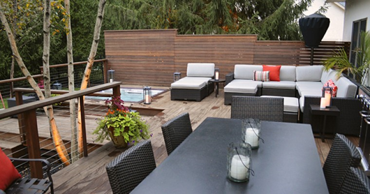 Modern Deck with Sunken Hot Tub