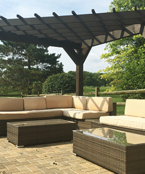 Triangle Pergola Frames Seating Area