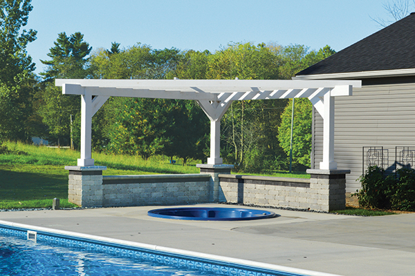 Triangle Pergola Over Hot Tub - Triangle Pergola Over Hot Tub - Landscaping Outdoor Kitchens Outdoor